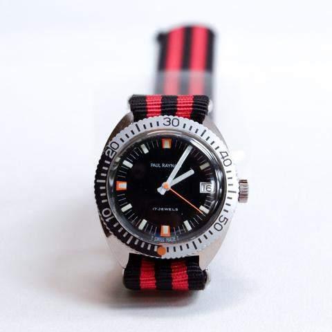 Blade + Blue Vintage 1960's Paul Raynard Diver's Watch