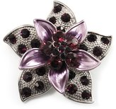 Avalaya 3D Enamel Crystal Flower Brooch (Purple)