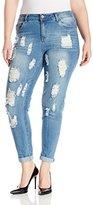 Dollhouse Women's Plus-Size Firestone Medium Wash Heavy Destructed Skinny Jean