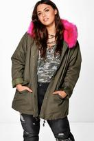 Boohoo Plus Billie Parka With Bright Contrast Faux Fur