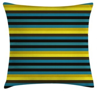 """East Urban Home with Funky Lines Horizontal Indoor / Outdoor Striped 28"""" Throw Pillow Cover"""