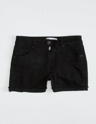 RSQ Mid Rise Cuff Girls Black Shorts