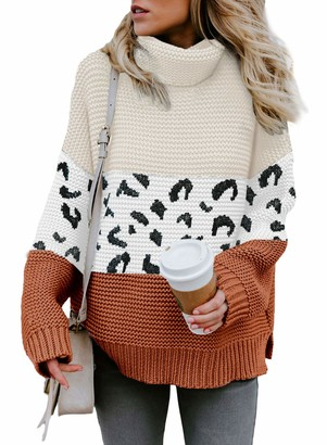 Aleumdr Womens Autumn Winter Cozy Turtleneck Long Sleeves Solid Printed Chunky Knitted Pullover Sweater Khaki Large