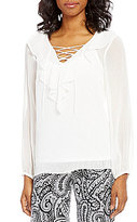 I.N. Studio Ruffle Neck Lace-Up Long Sleeve Solid Top