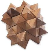 Challenging Teakwood Mini Puzzle from Javanese Artisan, '3D Star'
