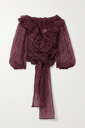 Dolce & Gabbana Off-the-shoulder Ruffled Polka-dot Silk-organza Blouse - Burgundy