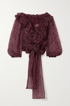 Dolce & Gabbana Off-the-shoulder Ruffled Polka-dot Silk-organza Blouse - Burgundy