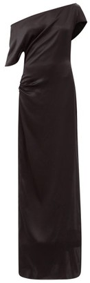 Art School Off-the-shoulder Gathered Silk-satin Dress - Black