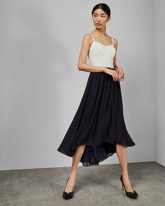Ted Baker Daisy Dip Hem Pleat Midi Dress