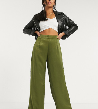 Outrageous Fortune Petite wide leg trouser in khaki