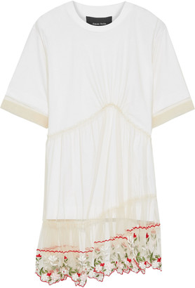 Simone Rocha Layered Embroidered Tulle And Cotton-jersey T-shirt