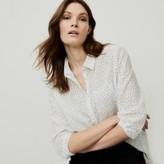 The White Company Cotton Voile Spot-Print Shirt, White, 6