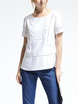 Banana Republic Short-Sleeve Ladder-Lace Top