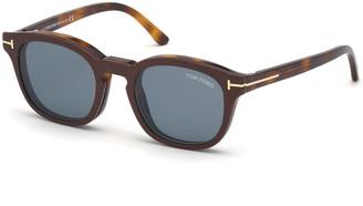 Tom Ford Men's Square Optical Glasses w/ Magnetic Clip-On Sun Lenses