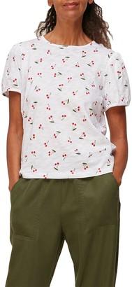 Whistles Rosa Double Trim Cherry Print T-shirt - White