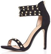 Quiz Black Stud Multi Strap Sandals