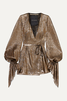 Roland Mouret Hamberg Metallic Plisse Silk-blend Wrap Mini Dress - Gold