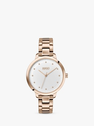 HUGO BOSS HUGO 1540037 Women's Achieve Bracelet Strap Watch, Gold/White