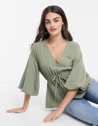 ASOS DESIGN kimono top with draw string waist in light khaki