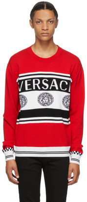 Versace Red and Black Vintage Medusa Sweater