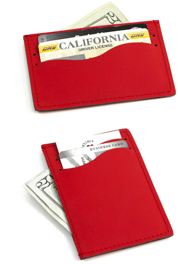 Bey-Berk Bey Berk Red Leather Slim Wallet
