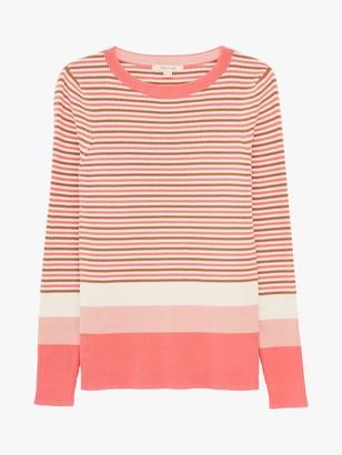 White Stuff Skinny Striped Solid Cuff Jumper, Pink/Multi
