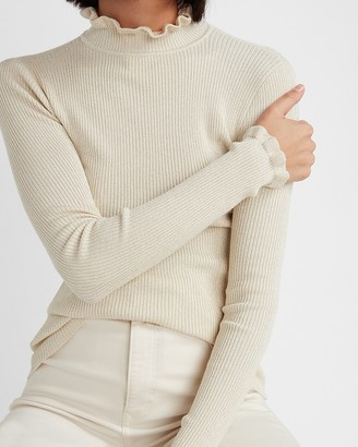 Express Metallic Ribbed Ruffle Mock Neck Sweater