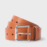 Paul Smith Men's Burnt Orange Punched Hole Leather Belt