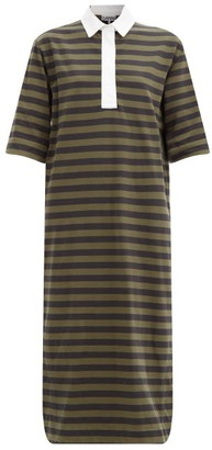Ganni Striped Polo-collar Organic-cotton Jersey Dress - Black Green