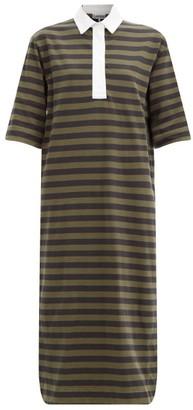 Ganni Striped Polo-collar Organic-cotton Jersey Dress - Black Green