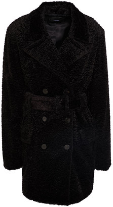 Theory Double-breasted Belted Faux Fur Coat