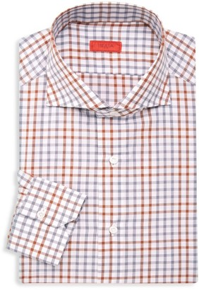 Isaia Slim-Fit Checker Dress Shirt