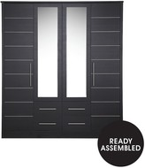 Consort Furniture Limited New Liberty 4-Door, 4-Drawer Mirrored Wardrobe