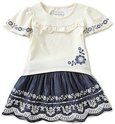 Flapdoodles Little Girls 2T-6X Floral Embroidery Top & Chambray Skort Set