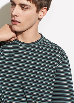 Vince Multi Stripe Short Sleeve Pocket Crew
