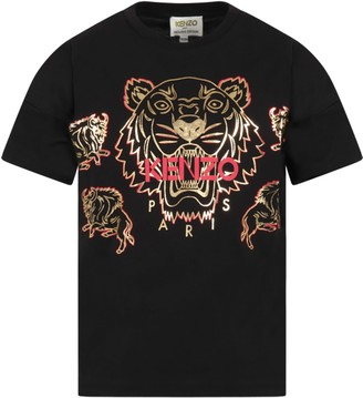 Kenzo Kids Black T-shirt For Kids With Tiger