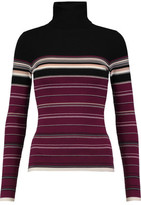 Autumn Cashmere Striped Ribbed Merino Wool-Blend Turtleneck Sweater