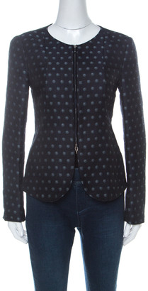 Armani Collezioni Navy Blue Spot-Jacquard Silk Blend Zip Front Jacket M