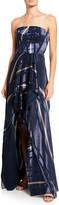 Halston Geometric Burnout Strapless High-Low Gown
