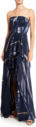 Halston Geometric Burnout Strapless High-Low Gown
