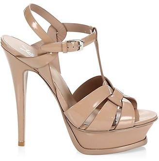 Saint Laurent Tribute 105MM Patent Leather Platform Sandals