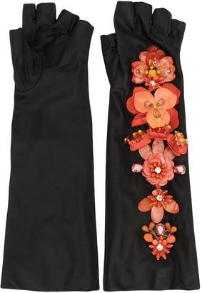 Biyan Flower-Embellished Long Satin Fingerless Gloves