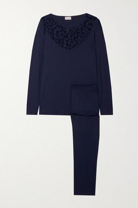 Hanro Najuma Lace-trimmed Cotton-jersey Pajama Set - Midnight blue