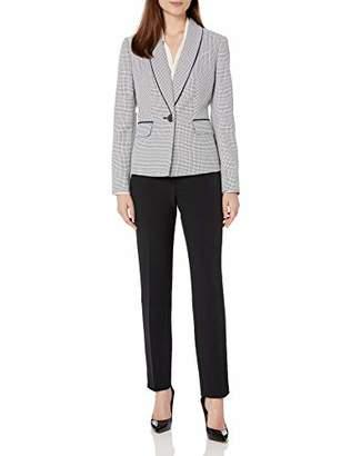 Le Suit Women's Shawl Collar Mini Houndstooth Slim Pant Suit