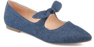 Brinley Co. Womens Bow Accent Almond Toe Flats