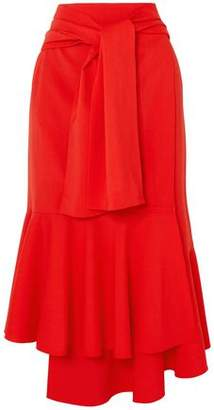 Rosie Assoulin Fluted Tie-front Wool-blend Midi Skirt