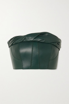 Givenchy Gathered Leather Bustier Top - Green