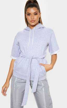 PrettyLittleThing Grey Oversized Short Sleeve Belted Hoodie