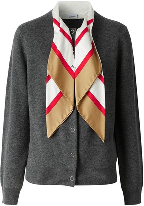 Burberry Silk Scarf Detail Cashmere Cardigan