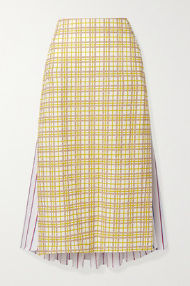 Rosie Assoulin Party In The Back Paneled Cotton-seersucker Midi Skirt - Yellow